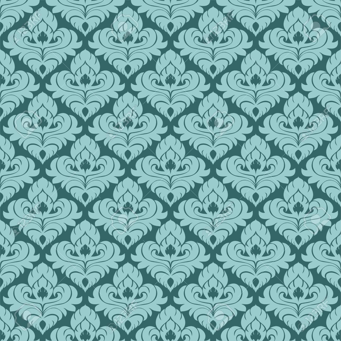 Damask seamlessl ornamental Wallpaper for design. - 97509667