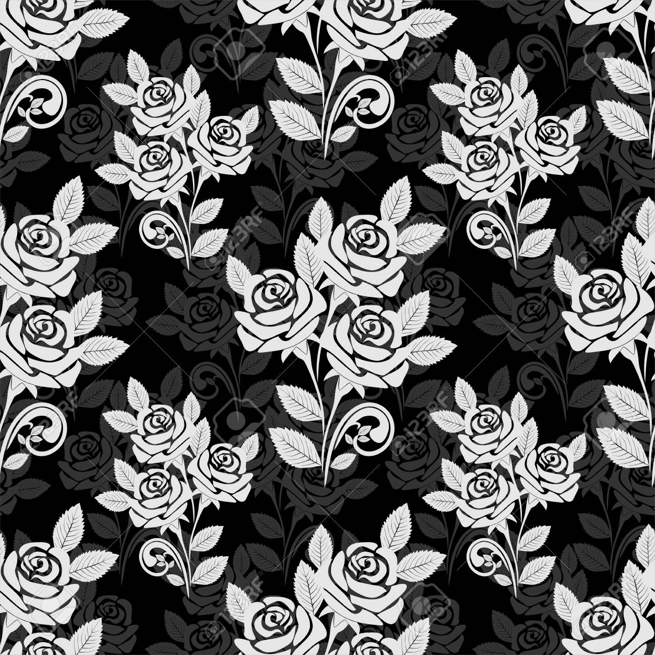 Seamless rose pattern in black-gray colors - 97538959