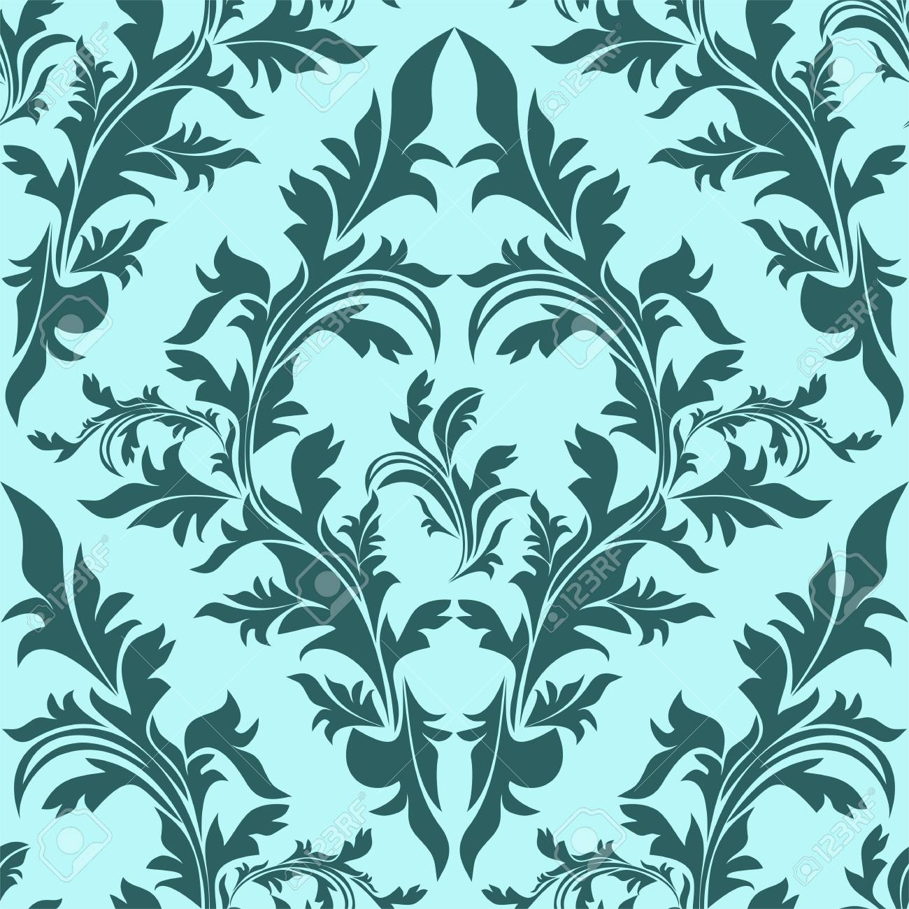 Blue seamless floral Ornament - 97509671