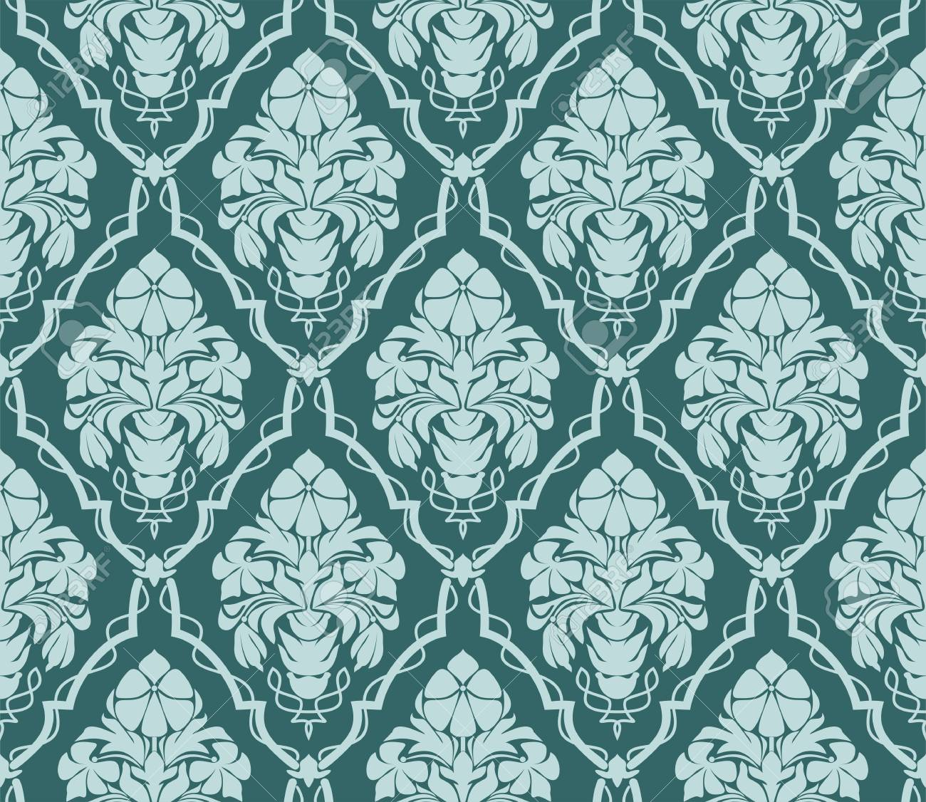 Seamless ornate damask Wallpaper for design. Ornament with bouquet of Flowers. - 103610137