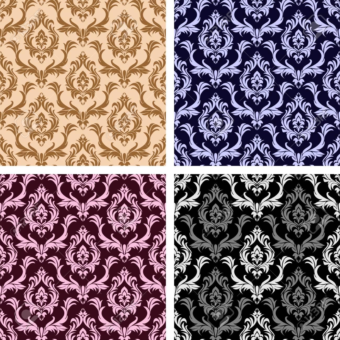 Seamless damask floral Wallpaper- set on four Variants - 97509682