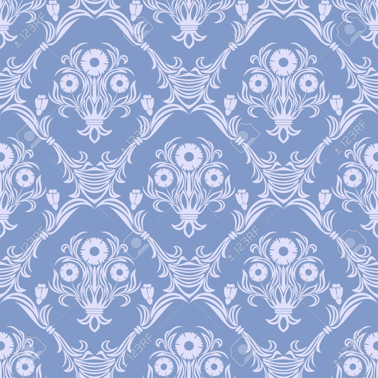 Damask seamless retro Wallpaper - Ornament with bouquet of Flowers. - 97509689