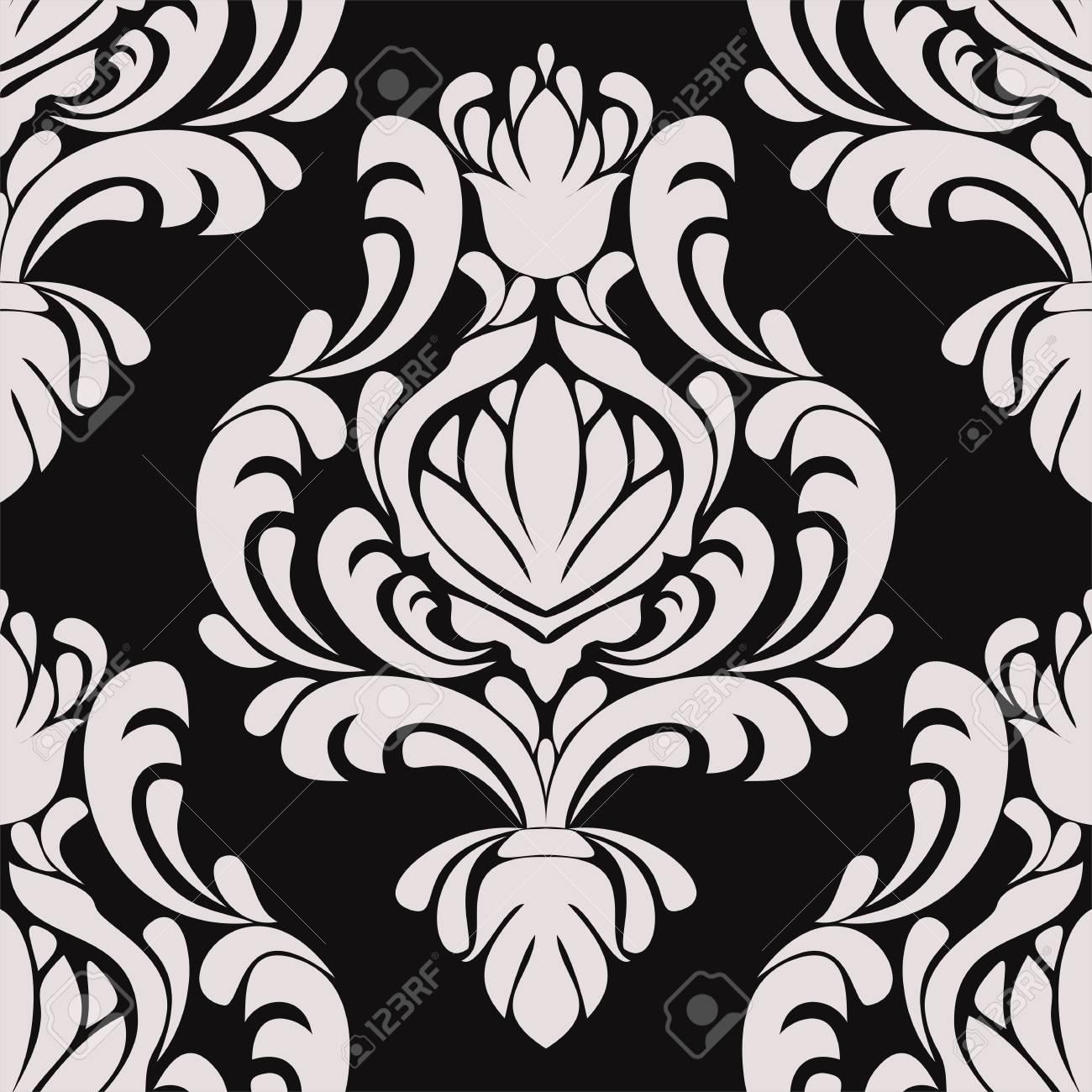 Seamless damask floral Ornament on black - 103610160