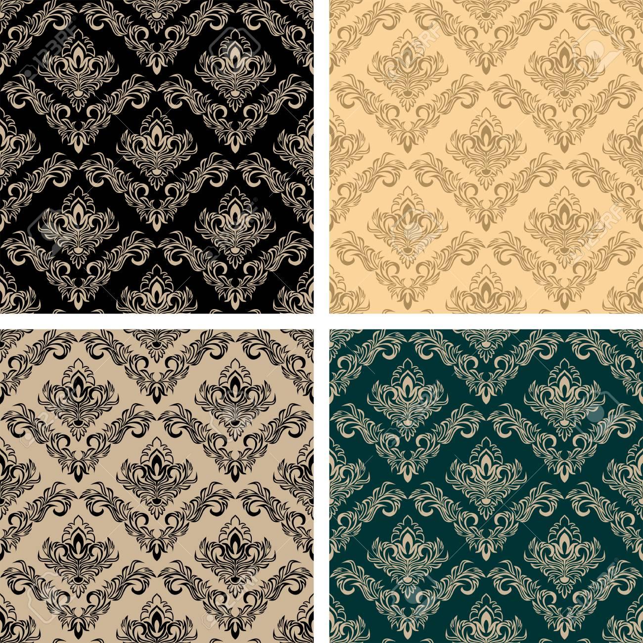 Original damask seamless Wallpapers - set of four Colors - 97509692