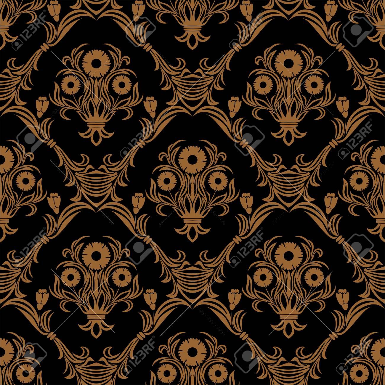 Seamless ornate damask flower Wallpaper for design. - 97511654
