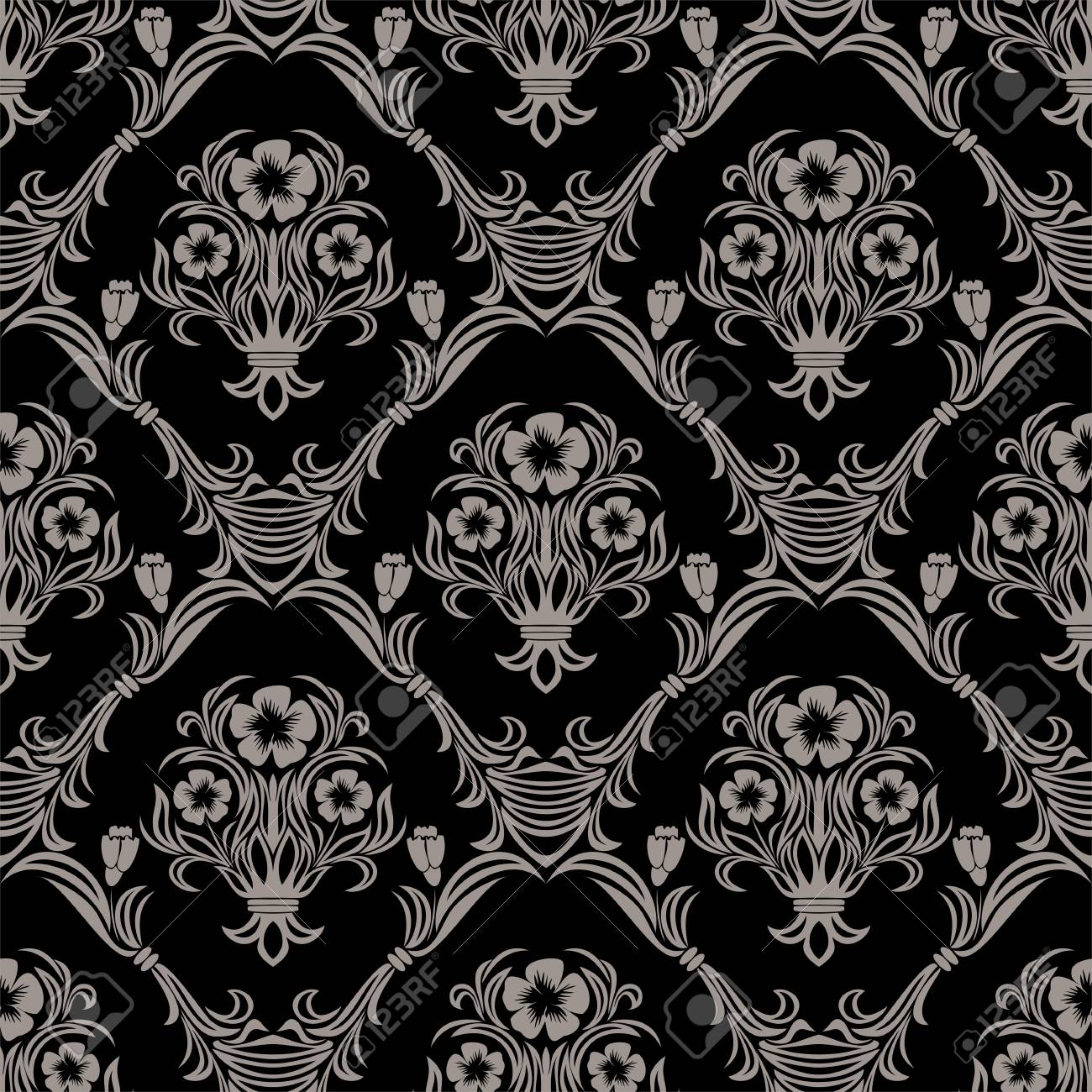 Seamless damask Wallpaper with flowers Ornament - 97509694