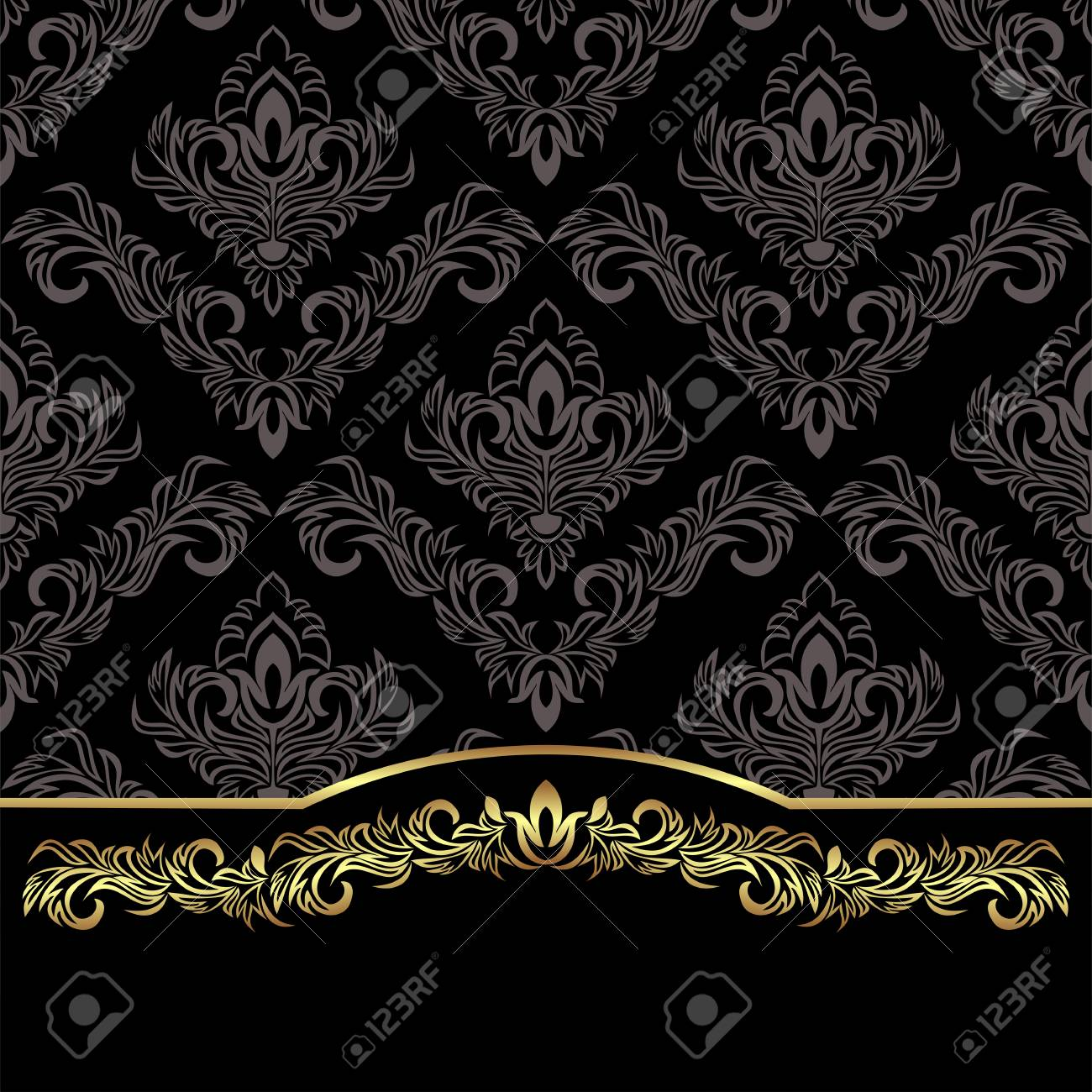 Luxury black damask Background decorated the golden floral Border - 97509699