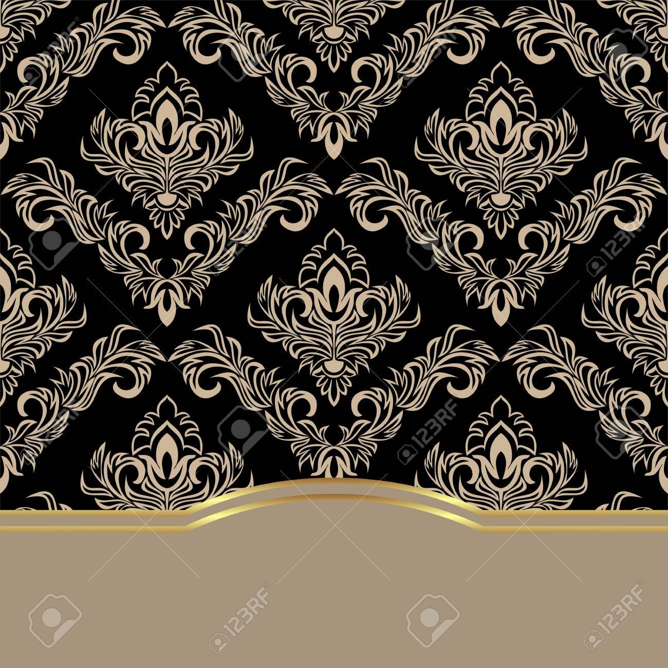 Luxury damask Background decorated the elegant Border - 103610161