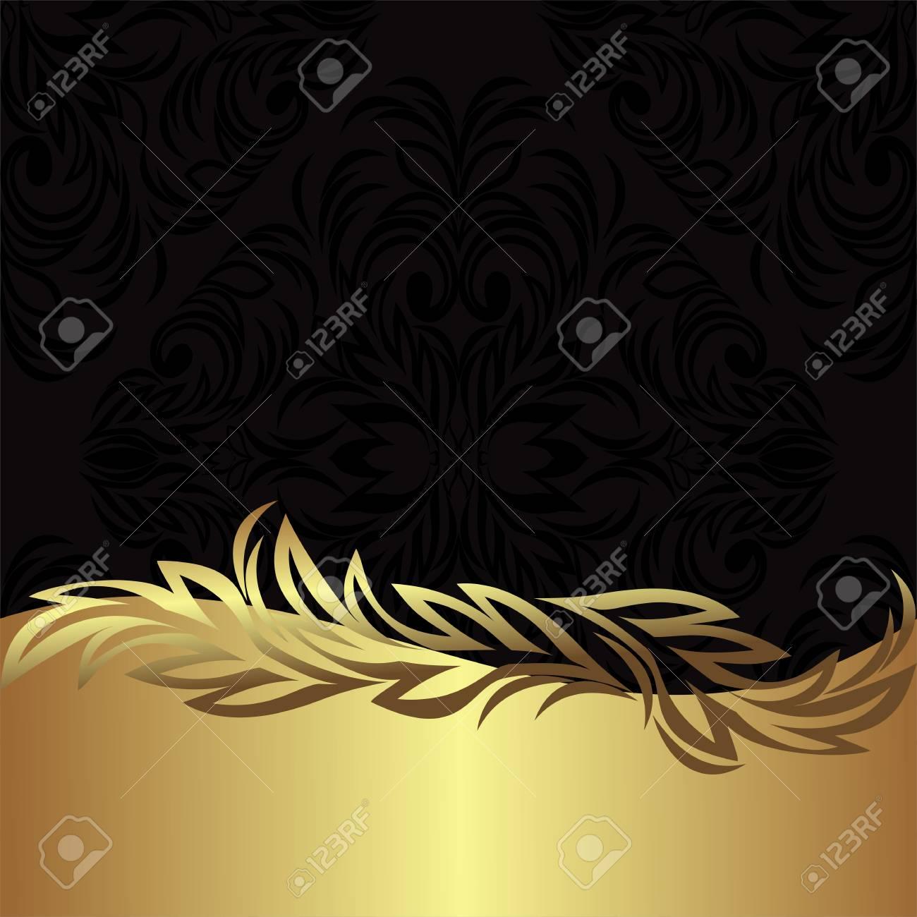 Elegant black ornamental Background with golden floral Border - 97509720