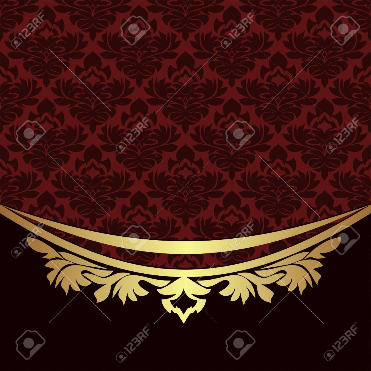 Elegant ornamental Background with golden floral Border - 103610162