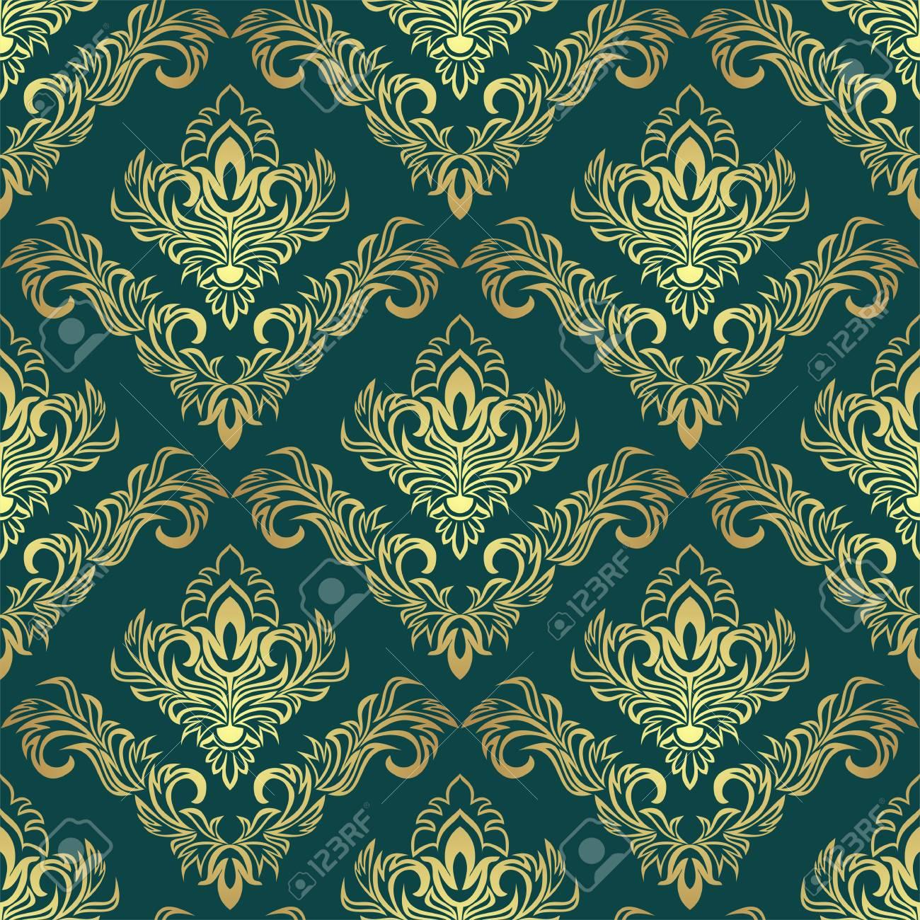 Luxury golden damask Pattern on dark green - 97509725