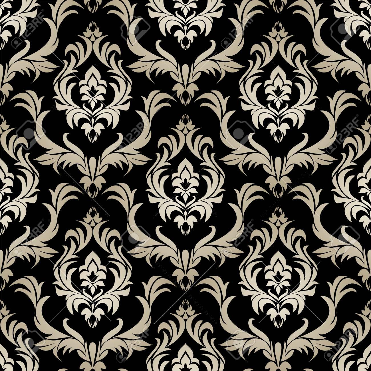 Seamless retro damask Wallpaper - silver floral Ornament on black. - 97511675