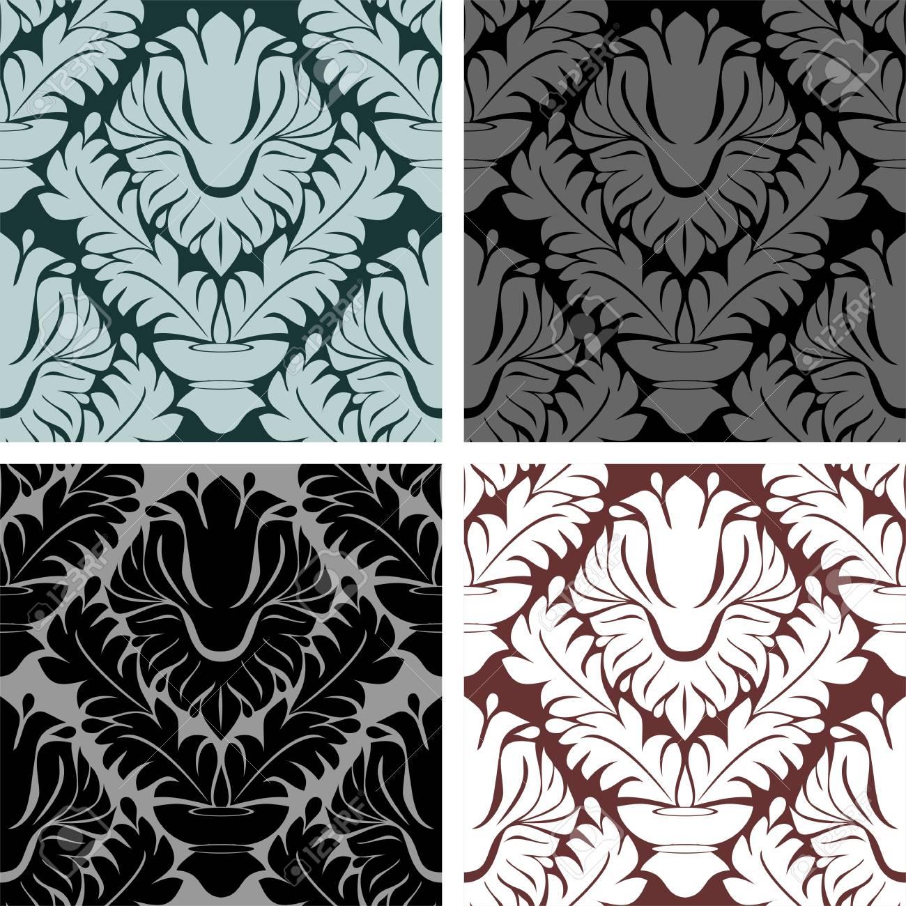 Seamless damask Ornament - set on four Variants - 97509730