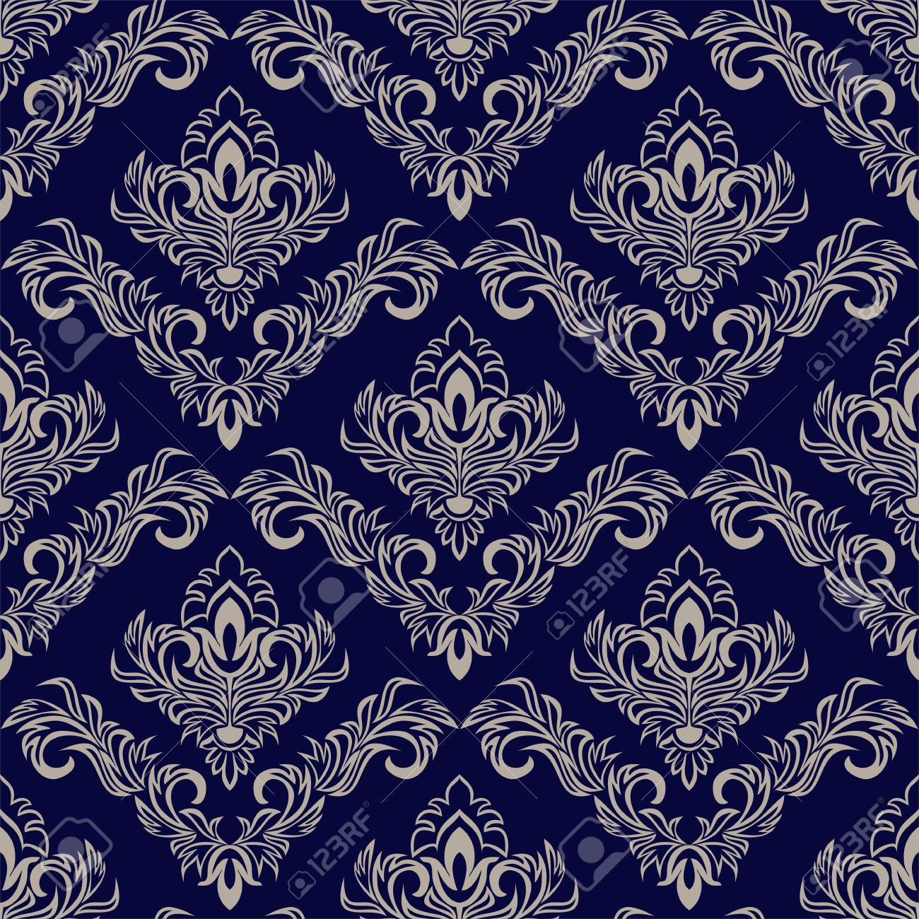 Seamless navy blue Wallpaper with damask Ornament for design - 97509731