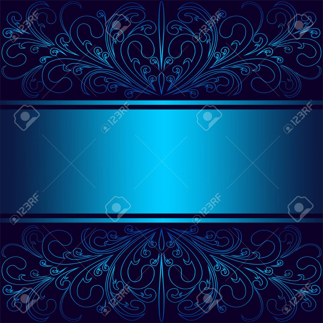 Luxury blue Background with elegant floral Borders and Ribbon (Place for Text). - 103610164