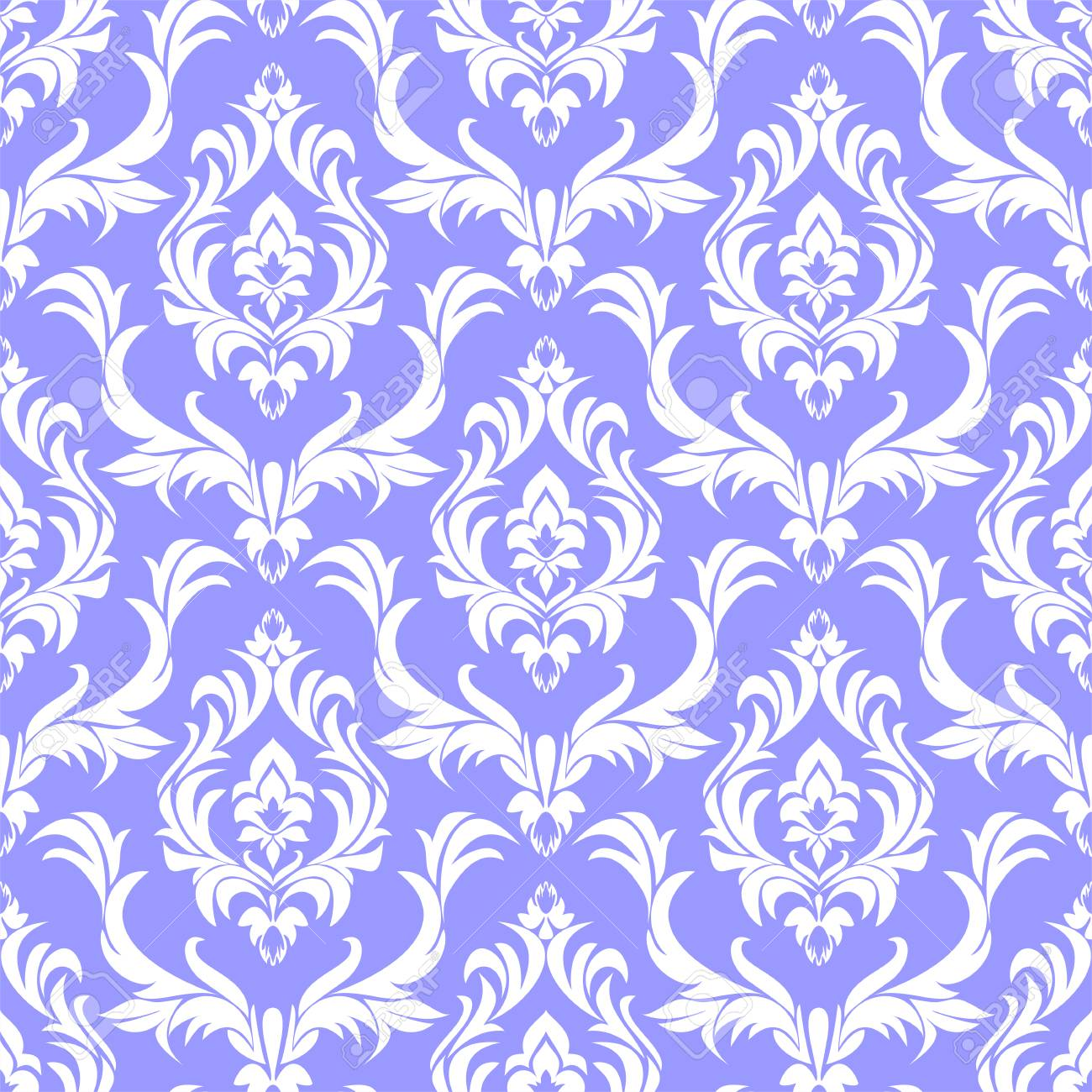 Seamless damask white Pattern on blue in retro Style - 97509754