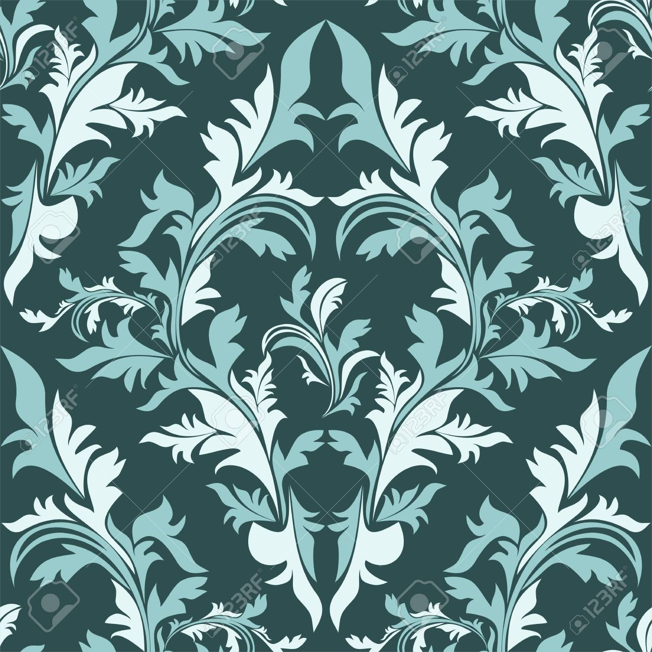 Seamless damask floral Ornament - color combination. - 97509755