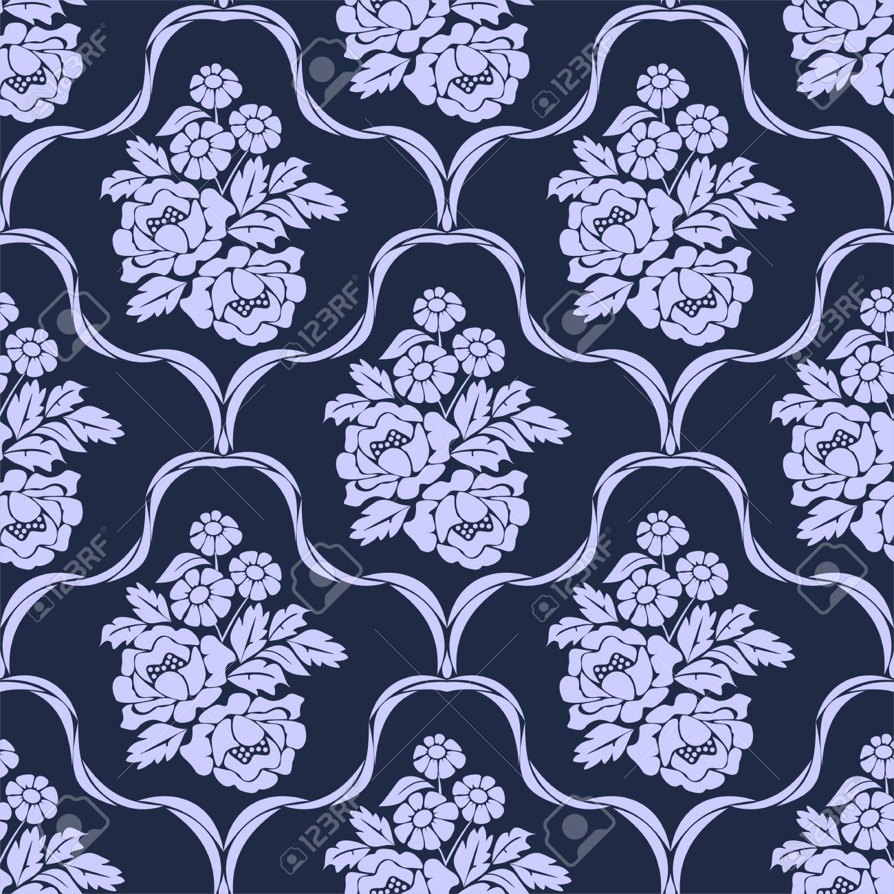 Elegant seamless retro Wallpaper - Ornament with bouquet of Flowers - 97509757