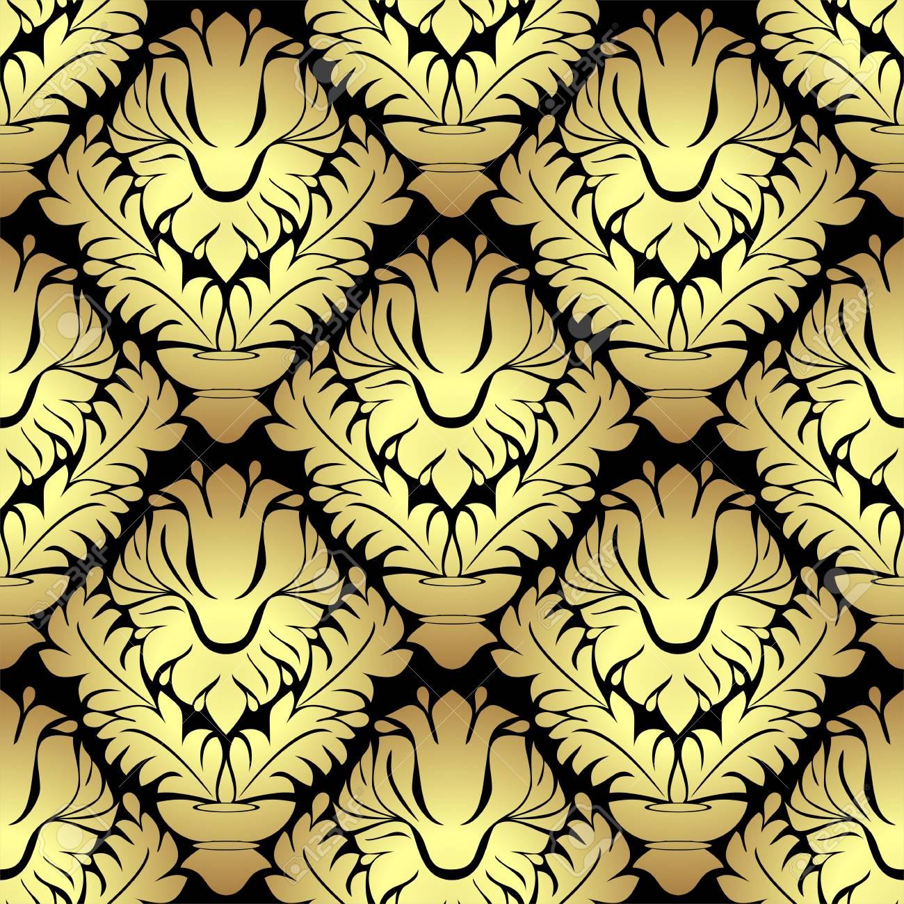 Ornamental golden damask seamless Pattern on black - 97509759