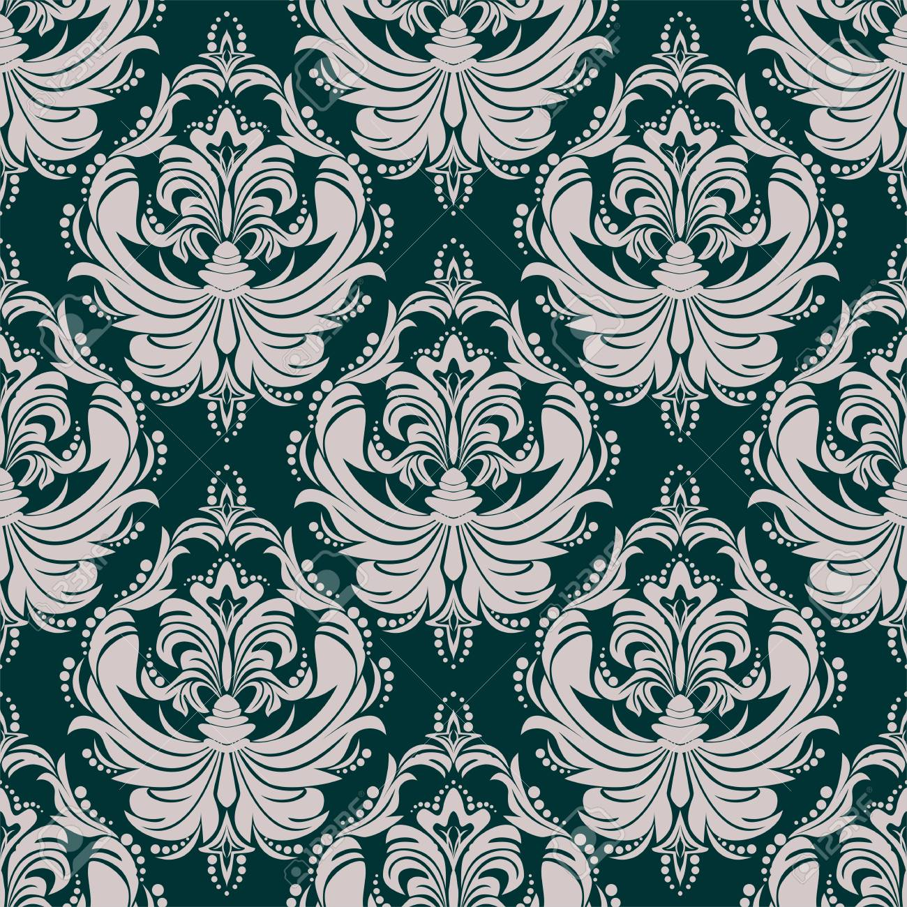 Ornamental damask seamless Wallpaper for Design - 97509764