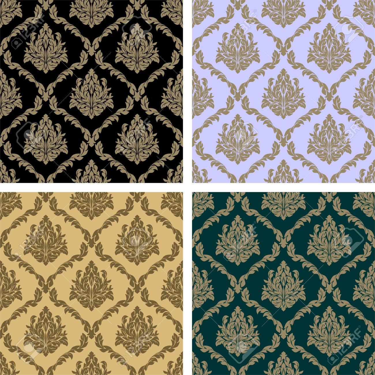 Damask floral repeat Pattern - set in four Variants - 97509765