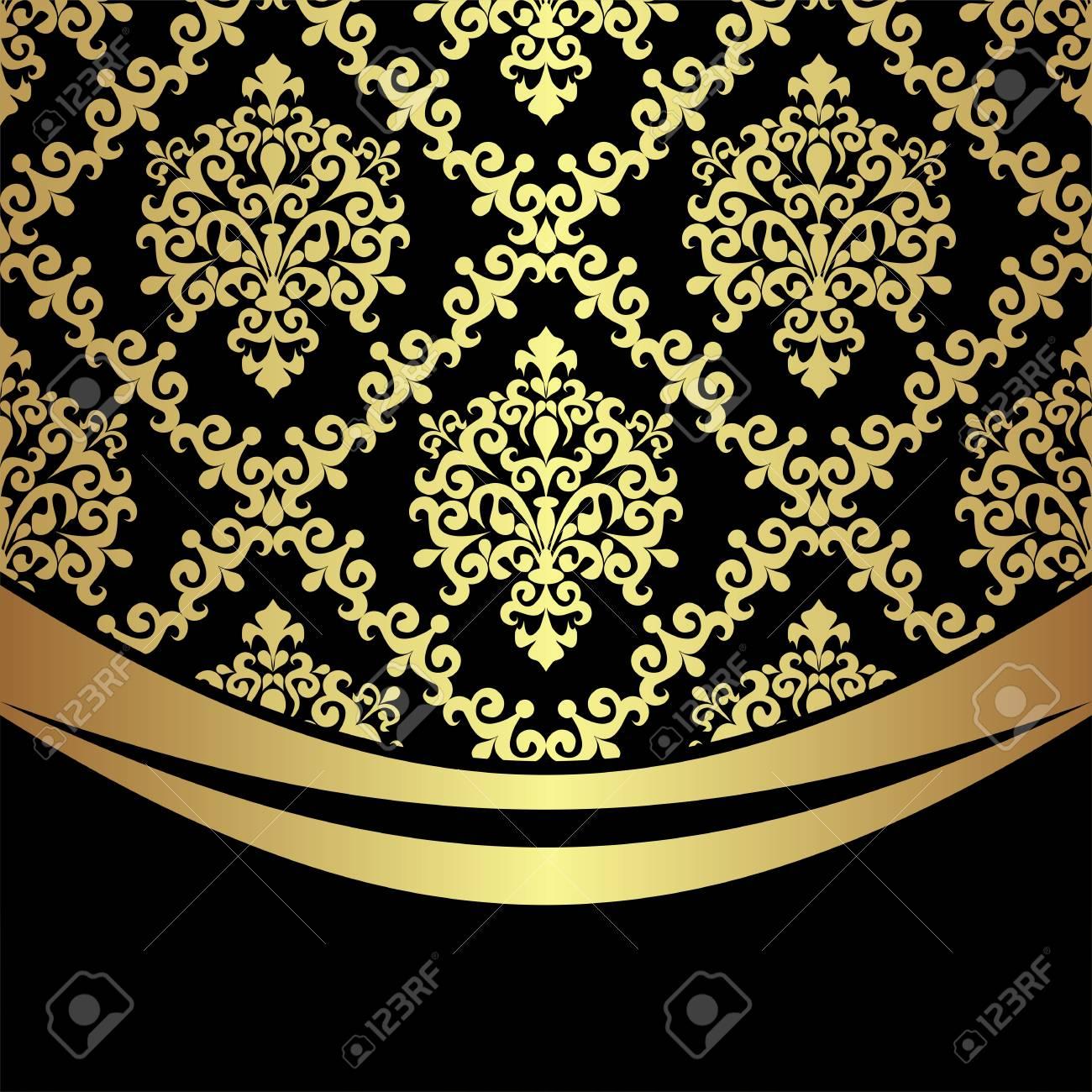 Ornate golden damask Background with golden Border on black. - 97509766