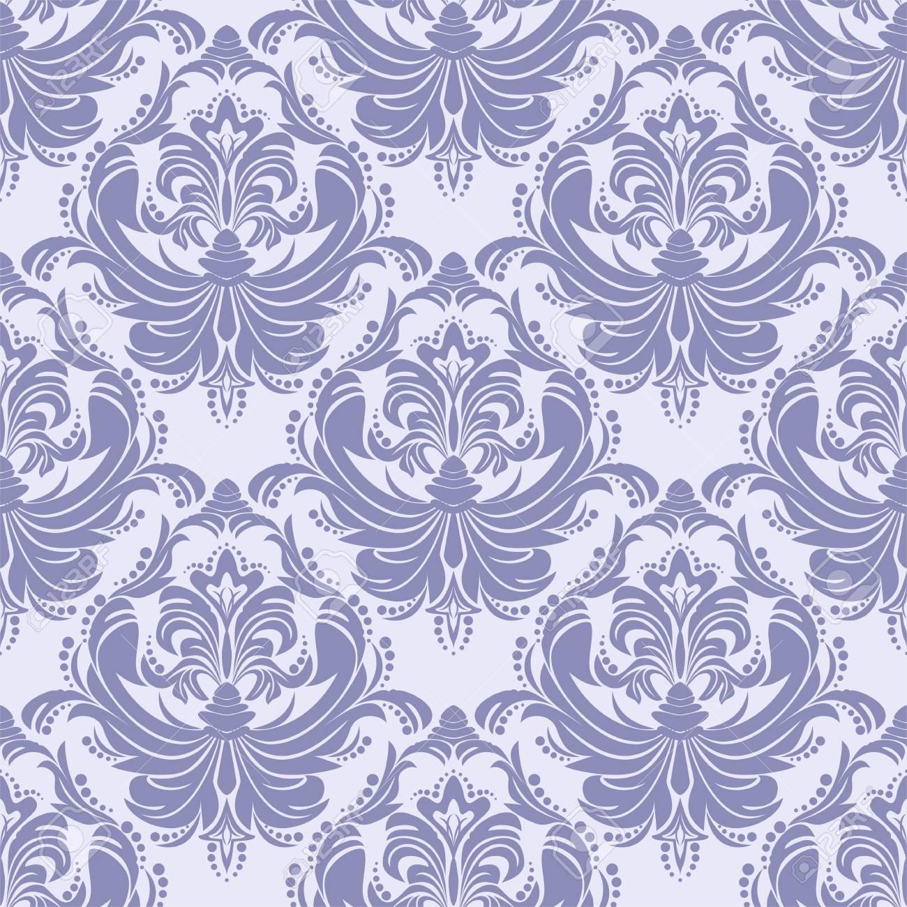 Seamless blue retro damask Wallpaper for Design - 97509769