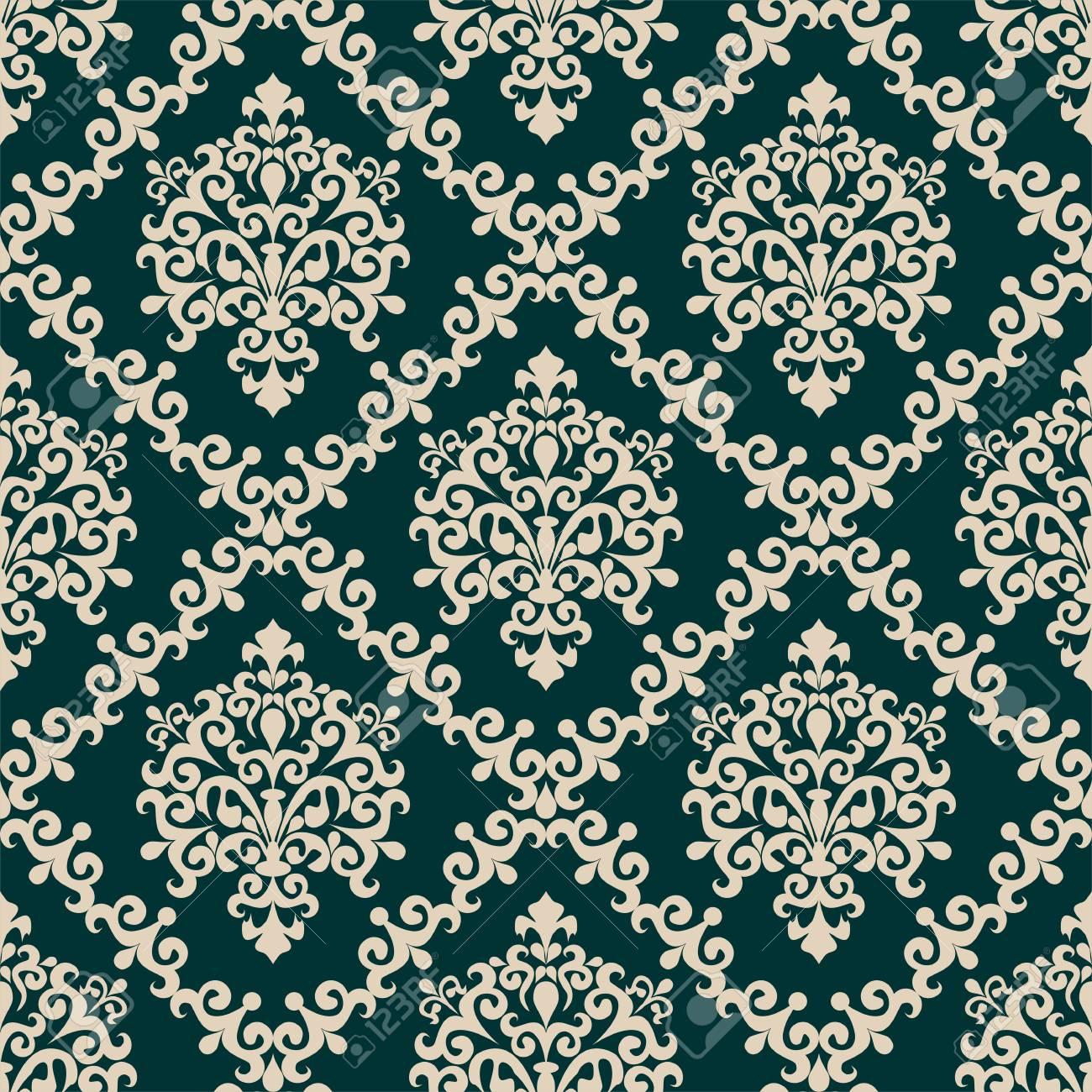 Seamless damask floral Wallpaper for Design - 98356828