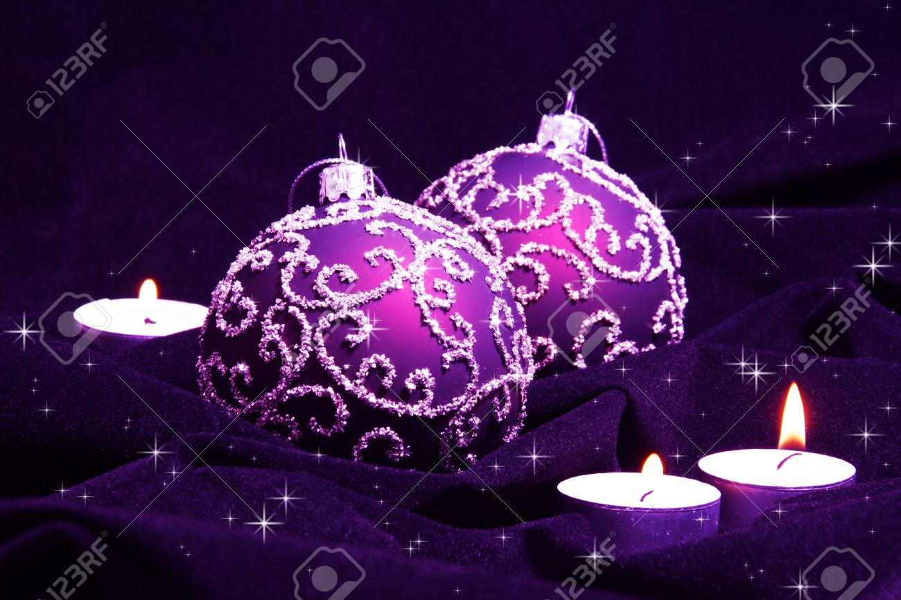 Violet Christmas Balls and Candles on Velvet Stock Photo - 8325507