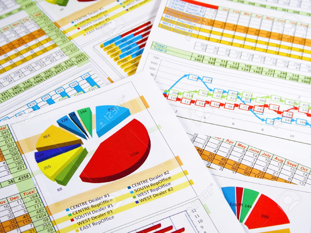 Printed Annual Report in Charts and Diagrams Stock Photo - 13039264