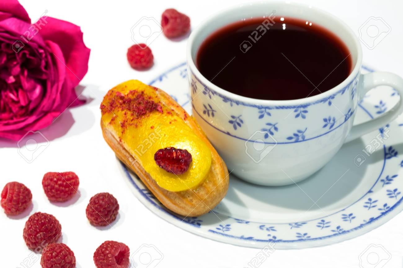 Fruit Yellow Eclair Cake With Hibiscus Tea Sudan Rose Tea