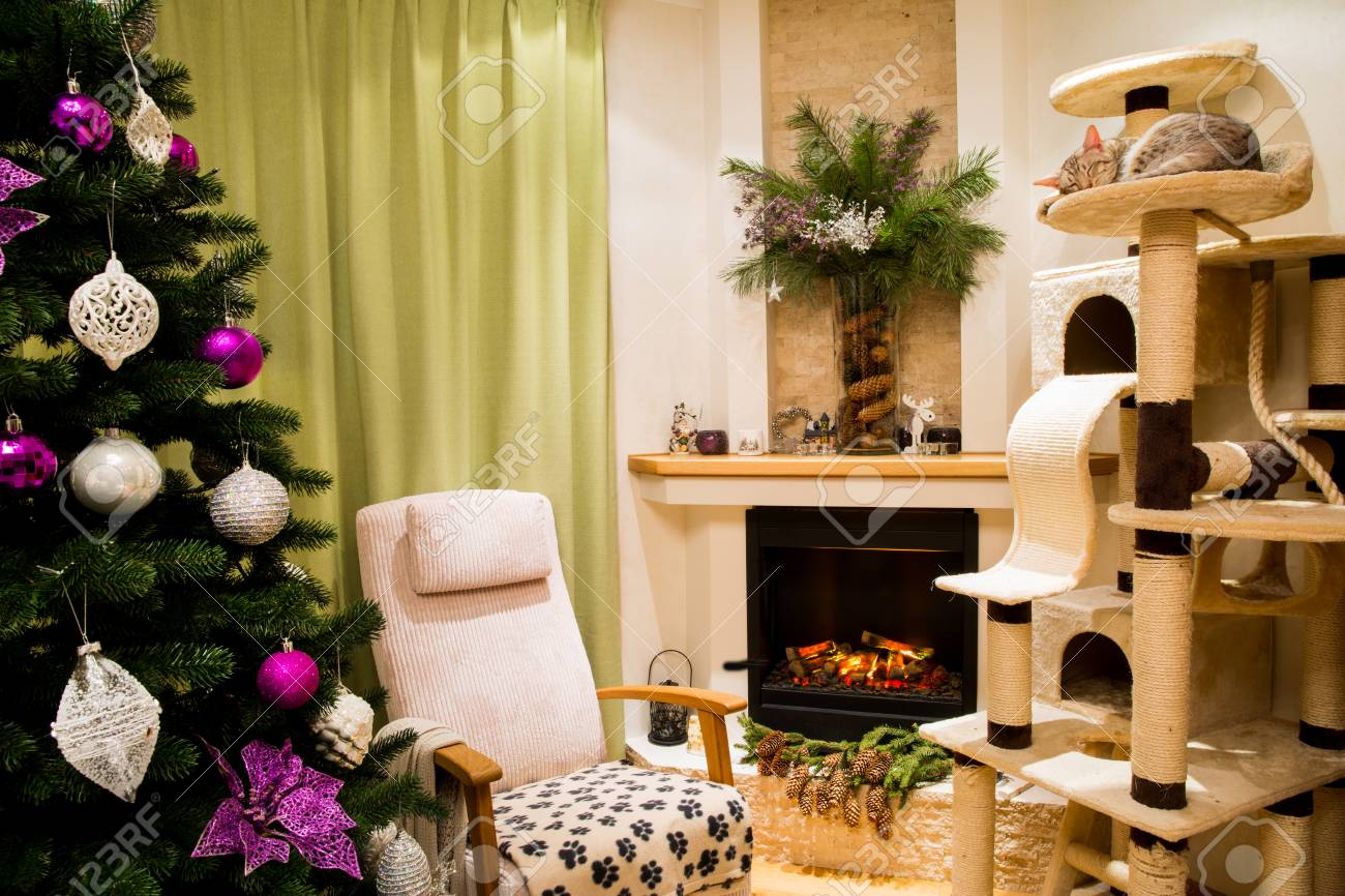A Cozy Living Room Decorated To Celebrate Christmas And New Year