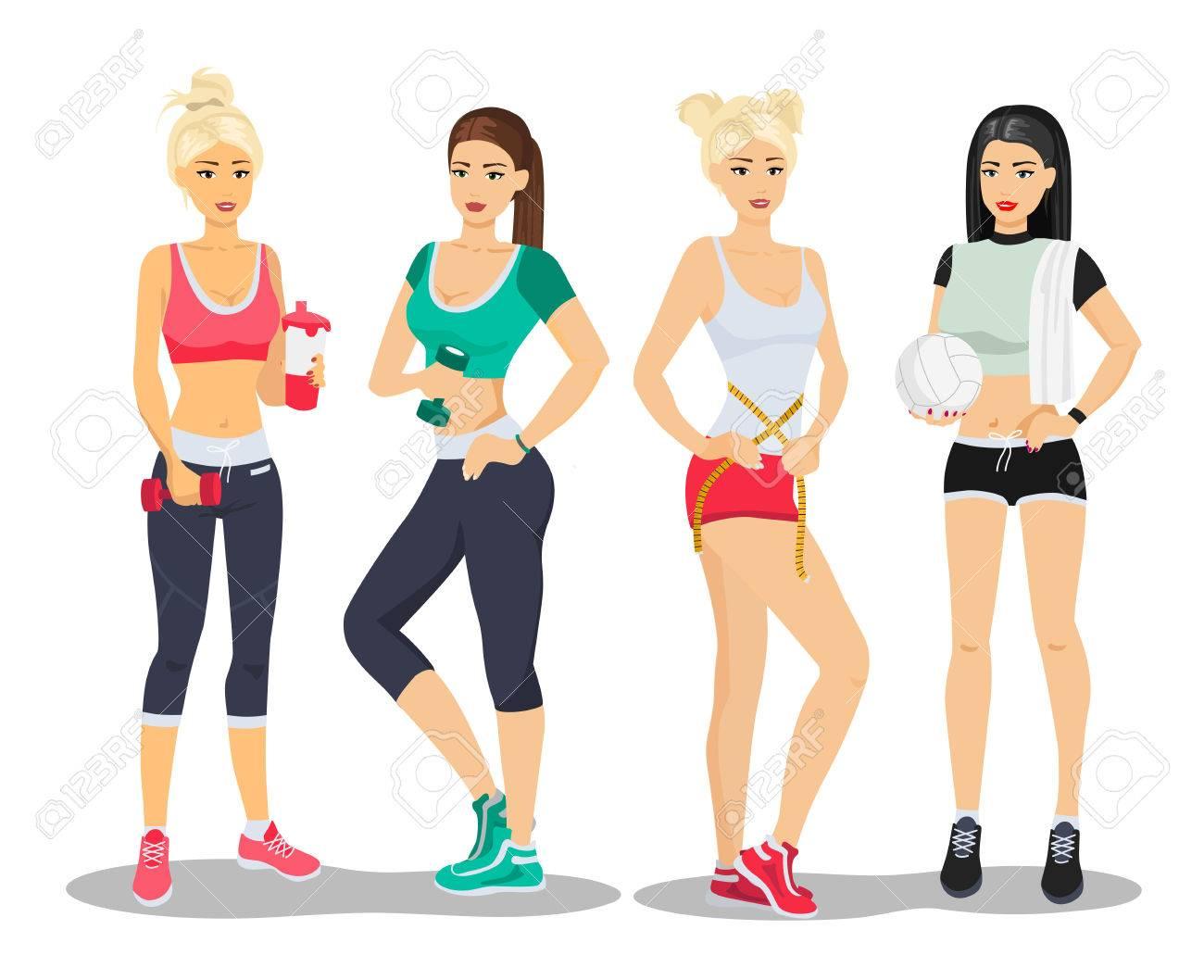 d62199e49188 Modelos hermosos de las muchachas de la aptitud del deporte Ilustración de  vector plano de gimnasio de mujer joven.