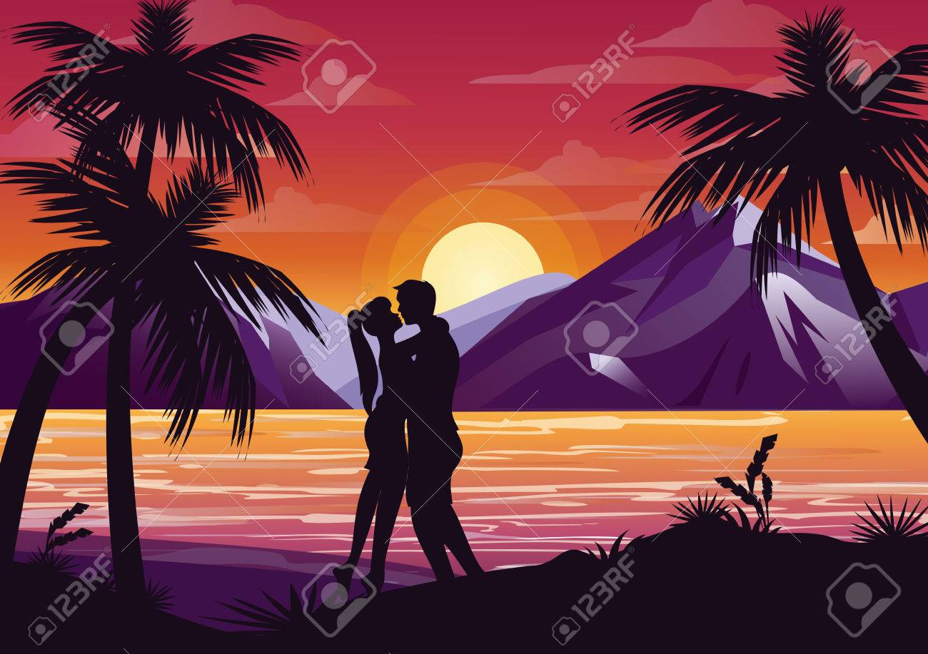 Vector Illustration Of Kissing Couple Silhouette On The Beach Under Palm Tree Sunset Background