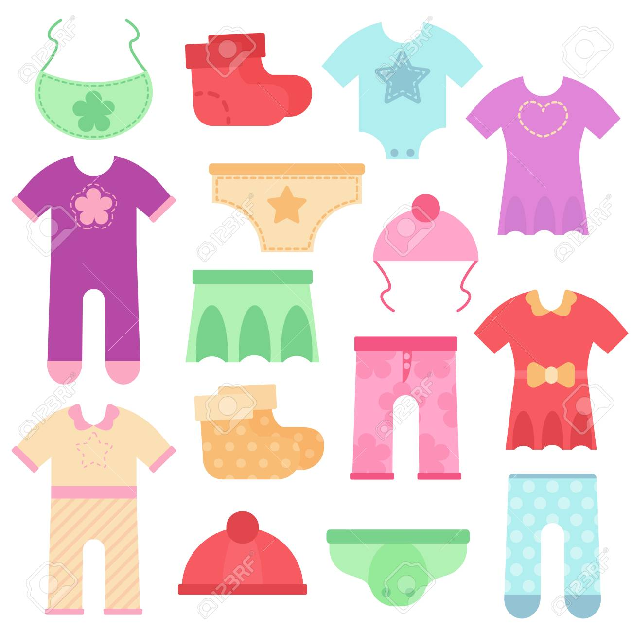 6d32a0ccd5e2 Baby Clothes. Kids Colorful And Bright Bodysuits And Overalls ...