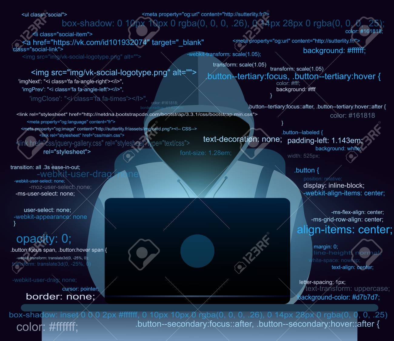 Vector Illustration Of Hacker With Laptop Hacking The Internet