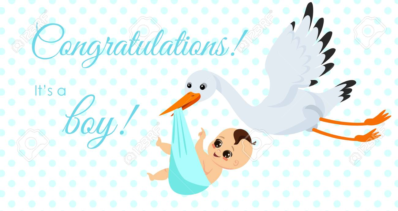 176ab438d Vector Illustration Of Happy Stork Carrying Cute Baby Boy In ...
