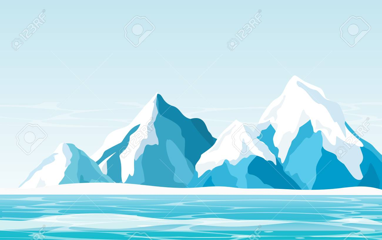 Vector illustration of snow mountains with ice, ocean and light sky background in flat style. - 100287565