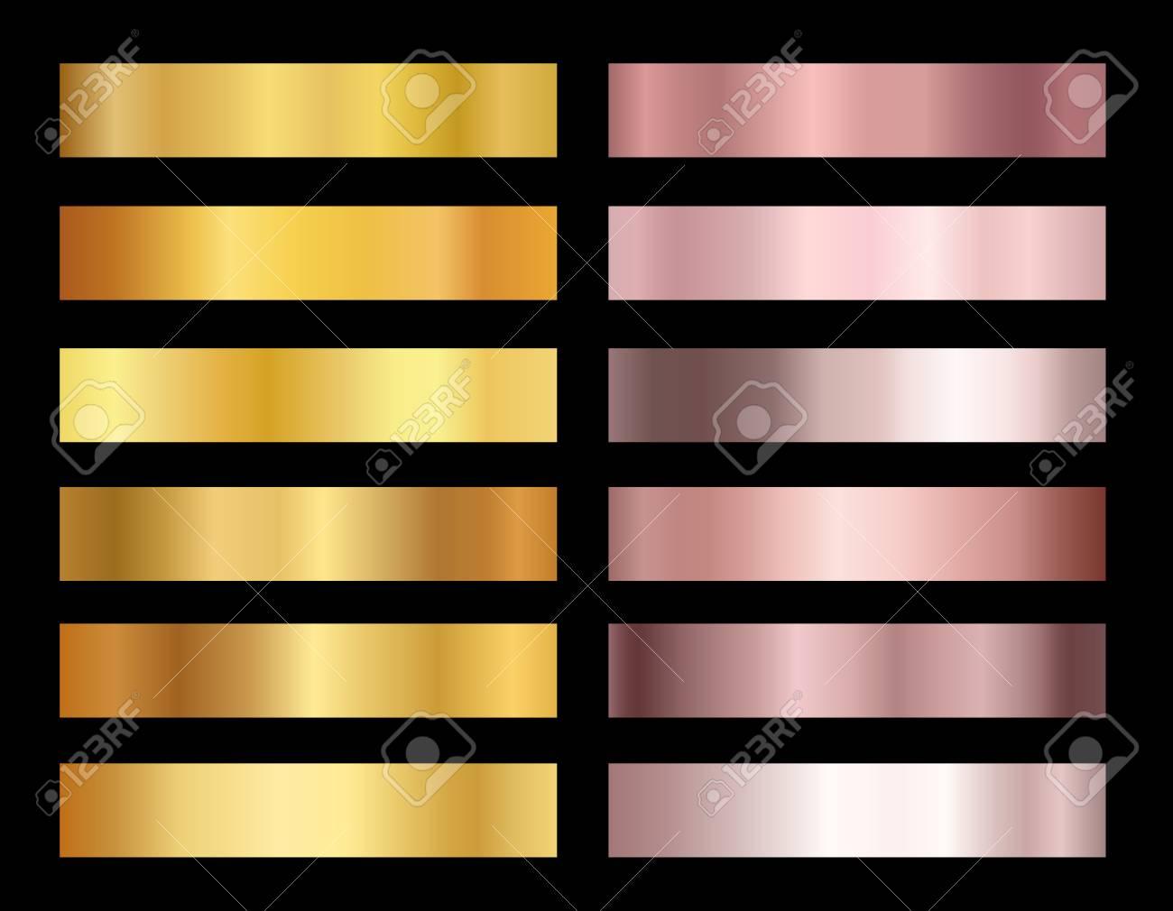 Set of gold rose and gold foil texture backgrounds vector illustration. Elegant, shiny gradients collection for border, frame, ribbon, pink golden label design. - 100307594