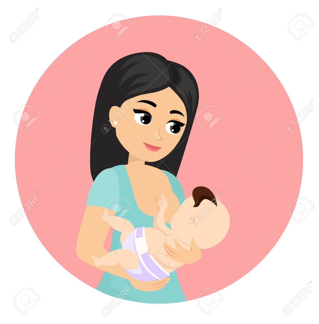 Vector Illustration Of Mother Feeds Baby With Breast