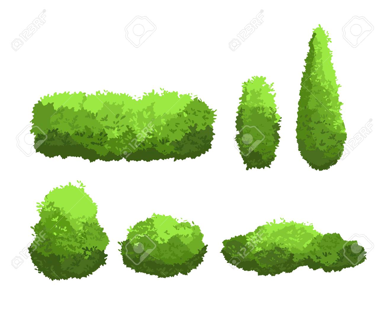 Vector illustration set of garden green bushes and decorative trees different shapes. Shrub and bush collection in cartoon style isolated on white background. - 101854322