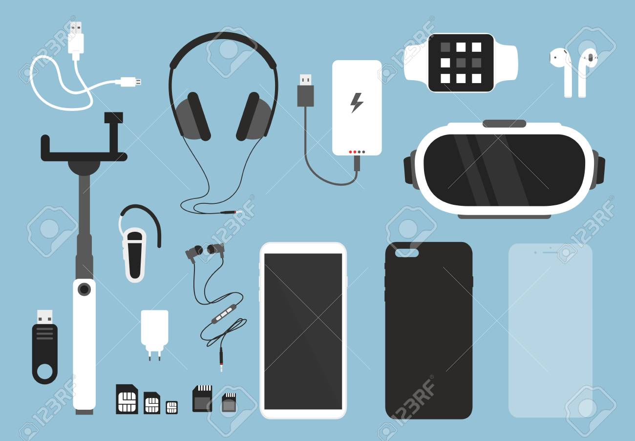 Vector illustration set of smartphone and accessories for it. Phone with case, charger, headphones and protective glass, cover and other things for smartphone in flat cartoon style - 112299467
