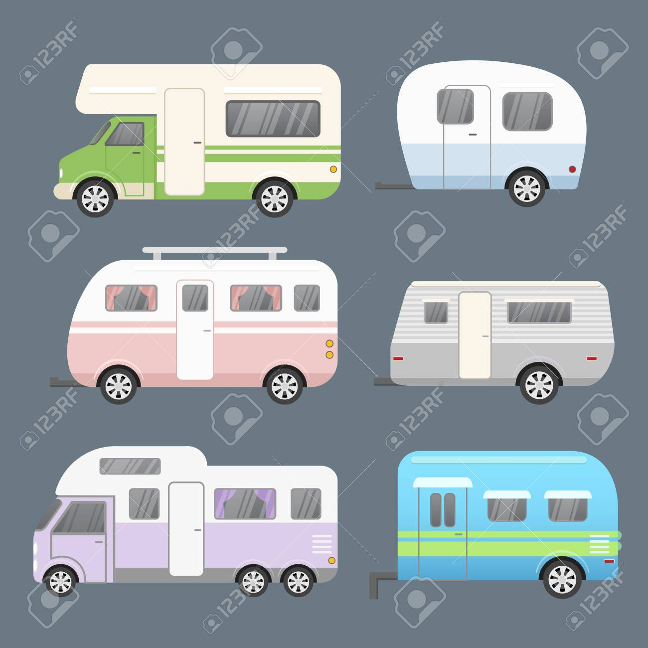 Vector Illustration Set Of Different Types Camping Trailers