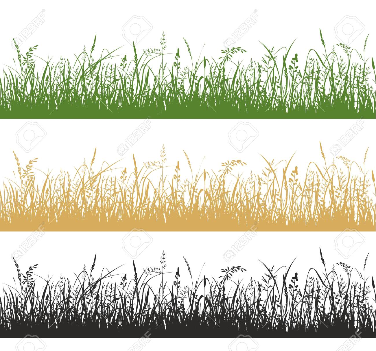 Grass and meadow plants silhouette illustrations set - 137803248