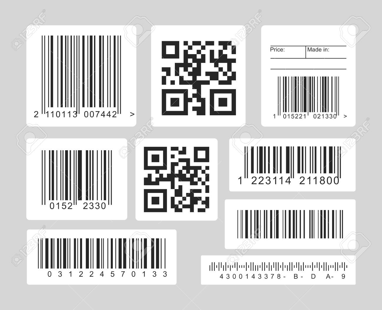 Barcode black and white vector illustrations set. Linear, one and dimensional codes for optical scanners, barcode readers template. Monochrome icons collection isolated on grey background - 141283946