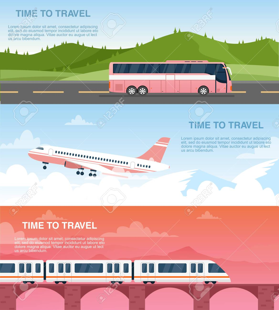 Time to travel web banner vector templates set. Tourist agency advertisement designs pack. Airway, railway and road transportation. Airplane, bus and train cartoon illustrations with text space - 141293330
