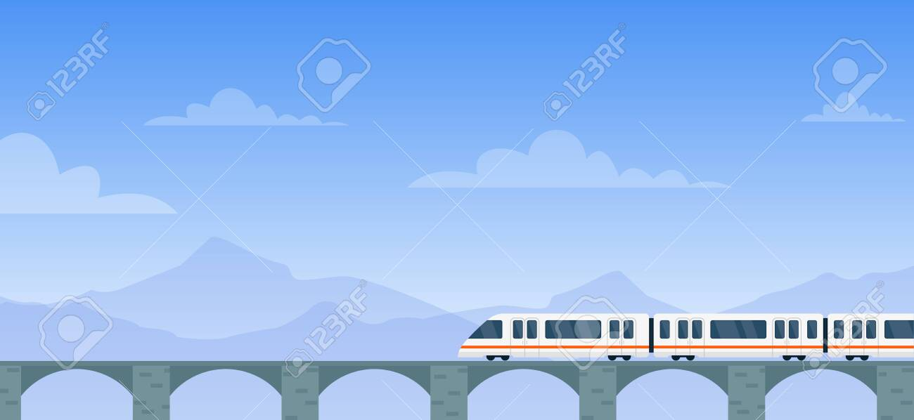 Travel by train vector illustration. Cartoon flat modern electric express train with travelers traveling by rail road on railway bridge to next station. Mountain landscape adventure background - 148957199