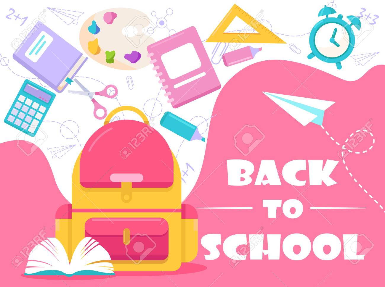 Back to school lettering vector illustration. Cartoon flat stationery, tools supplies and accessories for study in school, college or university. Education concept background for poster or web banner - 148957201