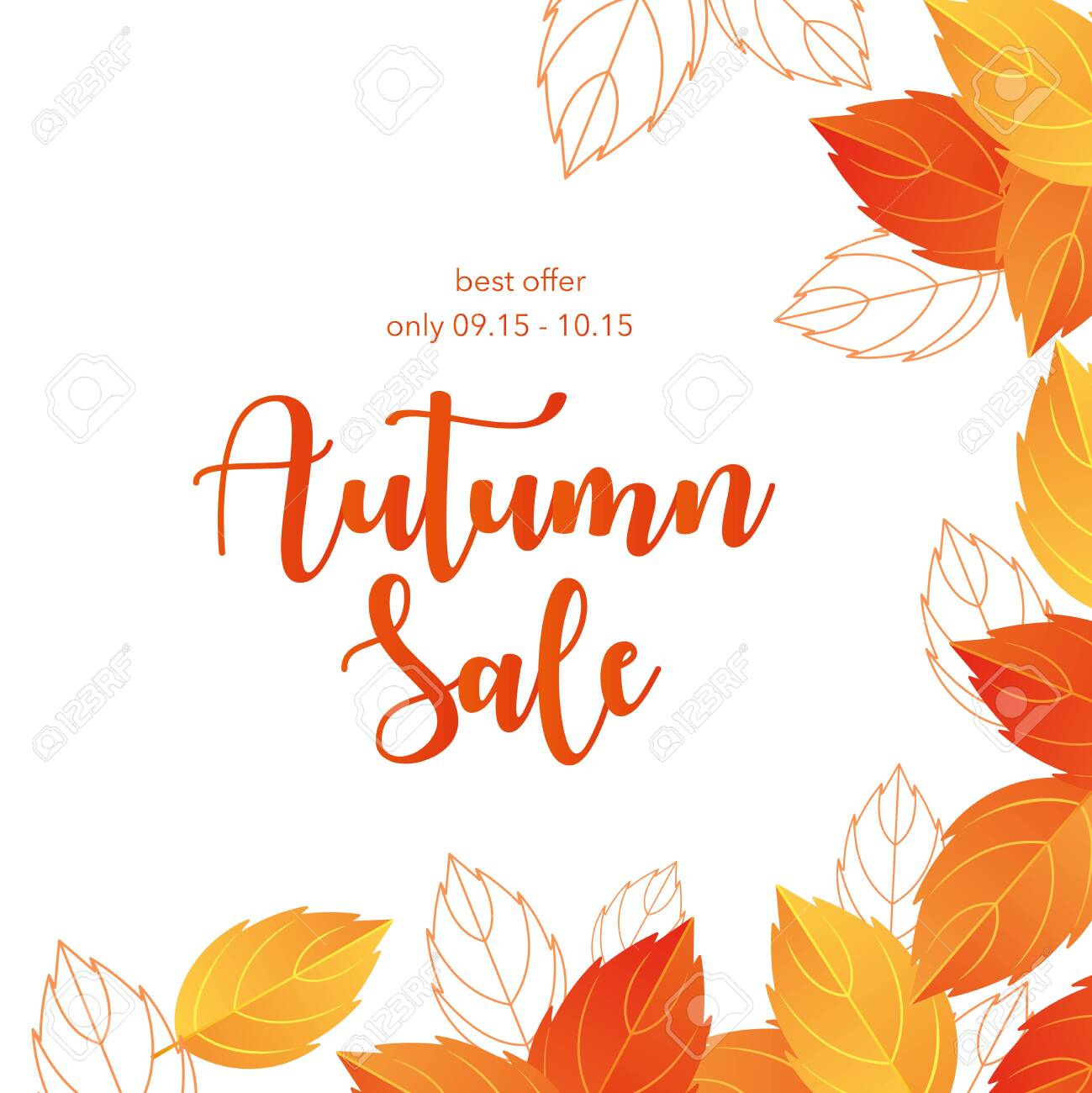 Autumn sale lettering vector illustration. Cartoon flat autumnal yellow orange dry tree leaves frame promo poster with special offer, shopping discount promotion template, fall season background - 148957200