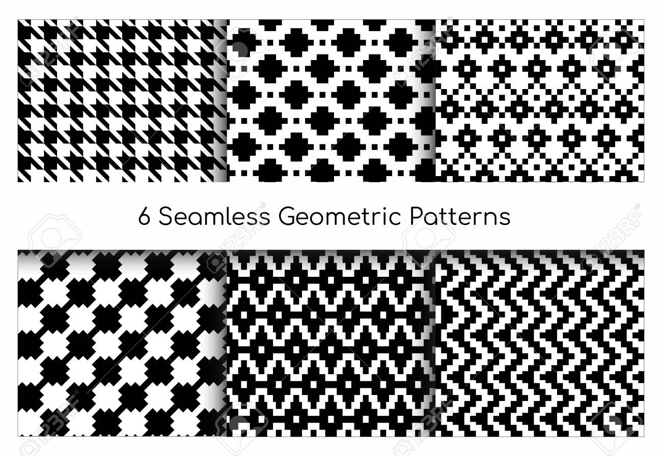 Seamless geometric pattern vector illustration set. Collection of modern stylish ornate abstract black and white texture geometry. Repeating geometric ornament tiles from striped, diagonal elements - 148957203